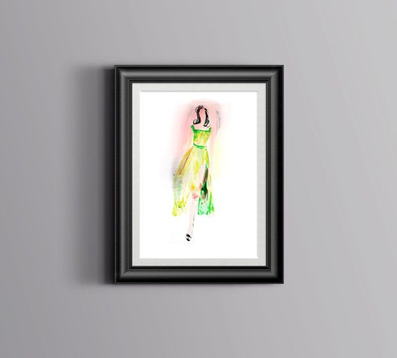 A light and romantic fashion woman, she is like the essence of spring. Made in watercolor in green and pink, it is a sweet and uplifting piece of art for your decor.   Etsy, shop, print, art, watercolor, kunst, boligindretning, decor, fashion. #fashionillustration