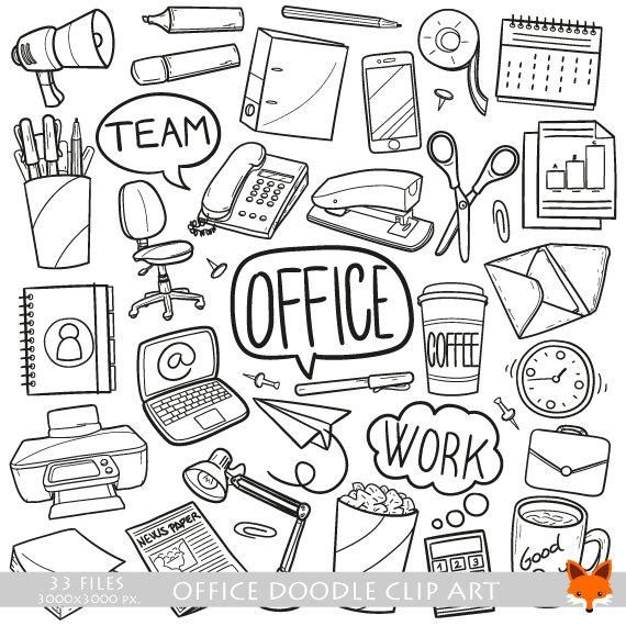 Vector Office Work Items Objects Doodle Icons Clipart Scrapbook Set Artwork Hand Drawn Coloring Line Art Design Scrapbooking Illustration – Frank Barino