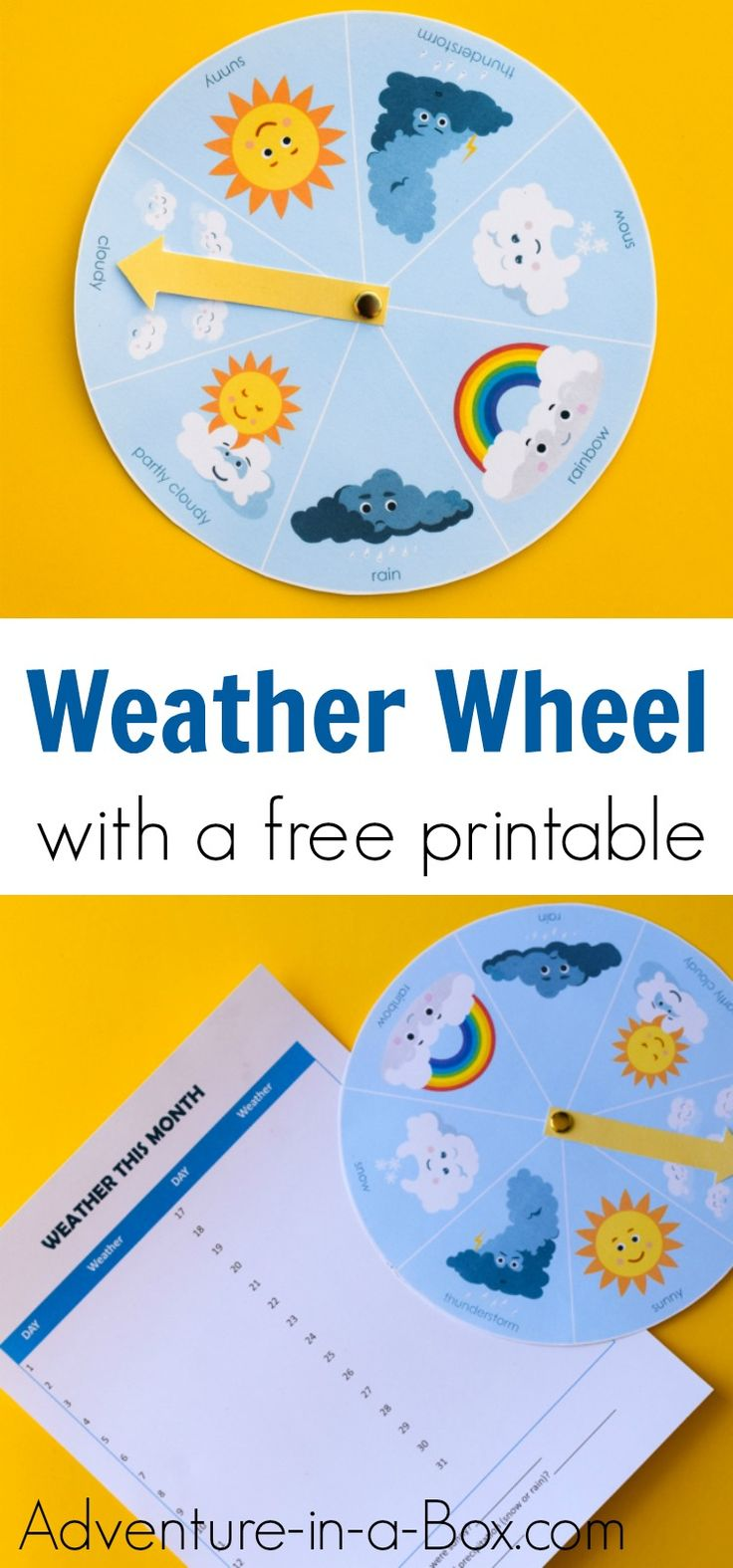 Free Printable Weather Wheel for Kids Weather activities