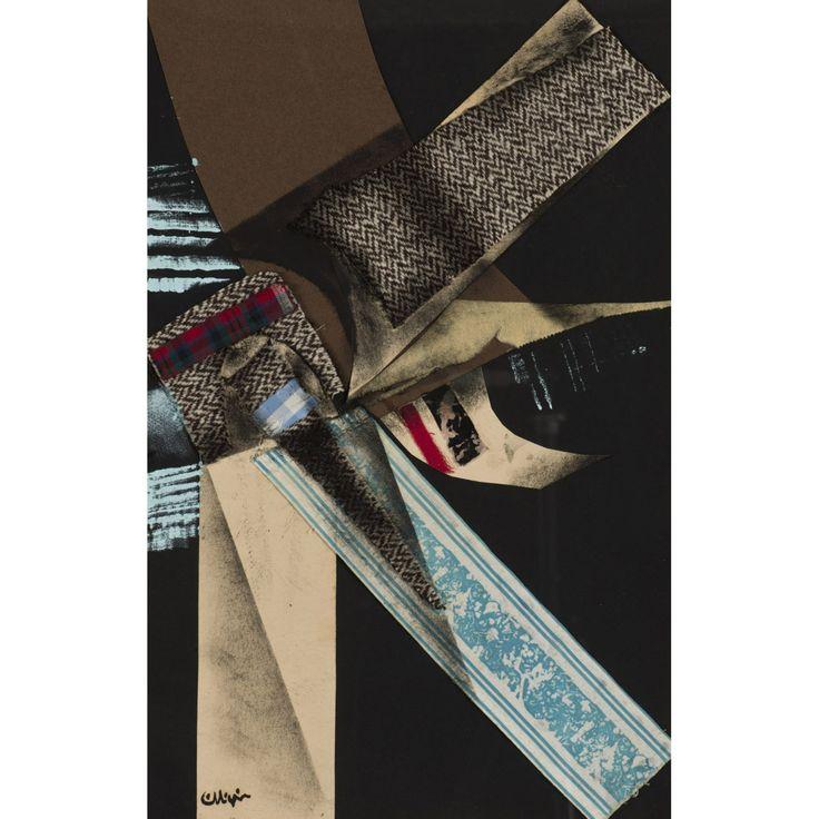 Georges Collignon (1923-2002) Sans titre, circa 1955 Gouache et collage de tissus et papier sur panneau Signé en bas à gauche 55 x 35 cm