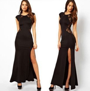 Inexpensive behind European and American trade dress slit dress lace dress nightclub side split shirt dress