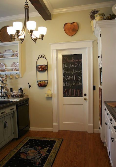 Chalkboard paint on the door. Good for reminders, announcements, and lists.