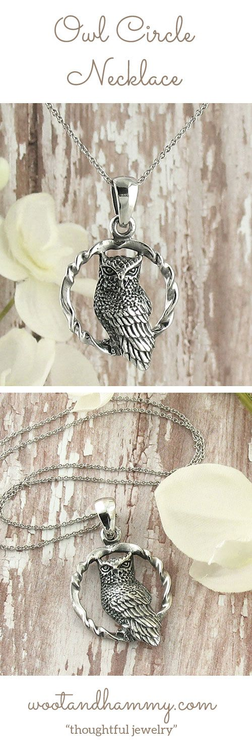 Owl Circle Necklace. Careful detailing and masterful artistry capture the stark beauty and spirit of the owl....pinned by ♥ wootandhammy.com, thoughtful jewelry.