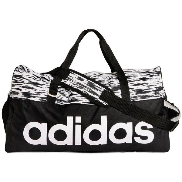 ADIDAS PERFORMANCE Training Printed Performance Duffle Bag - Black/White featuring polyvore, fashion, bags, handbags, clothing, workout, nylon duffle bag, duffle handbags, adidas duffle, nylon duffel bag and black white purse