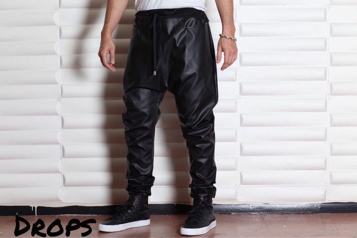 Pantalones de imitación de cuero negro pantalones de por C4DApparel