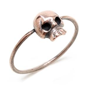 Mini Skull Ring in Oxidized Pink Silver