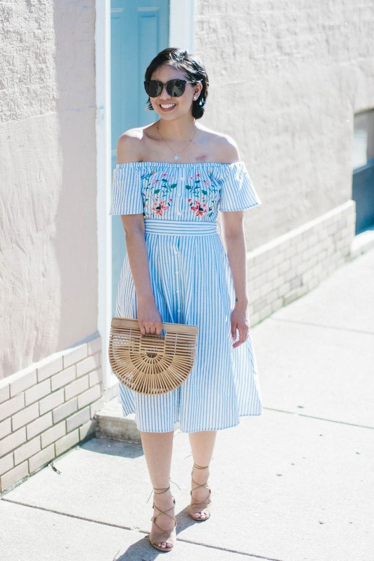 Top 8 Blue and White Summer Dresses, striped off the shoulder midi dress, cult gaia ark bag, summer fashion, summer style