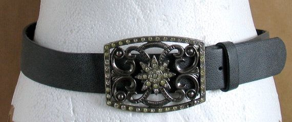 Vintage  Belt with Rhinestone Buckle  Grey Leather by vintachi, $19.99