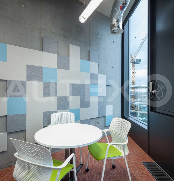 Autex Interior Acoustics - 24mm Cube™ - Colours: Savoye, Falling Water & Flatiron - Adobe Head Office, London, UK - Bespoke Water Cut Design
