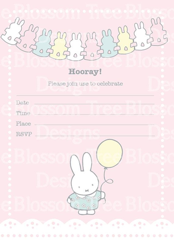 In a rush? Need a quick but stylish invitation? Instant Download Miffy Party Invitations. Just print, write and send.