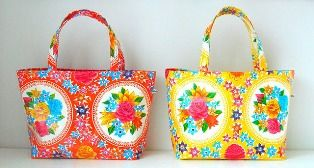 Patroon Tas van Tafelzeil (patterned bags made from table cloth)