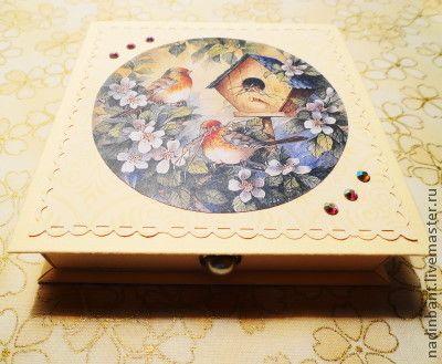 "Коробочка для денег ""Птички"" - коробочка для денег,коробочка для подарка"