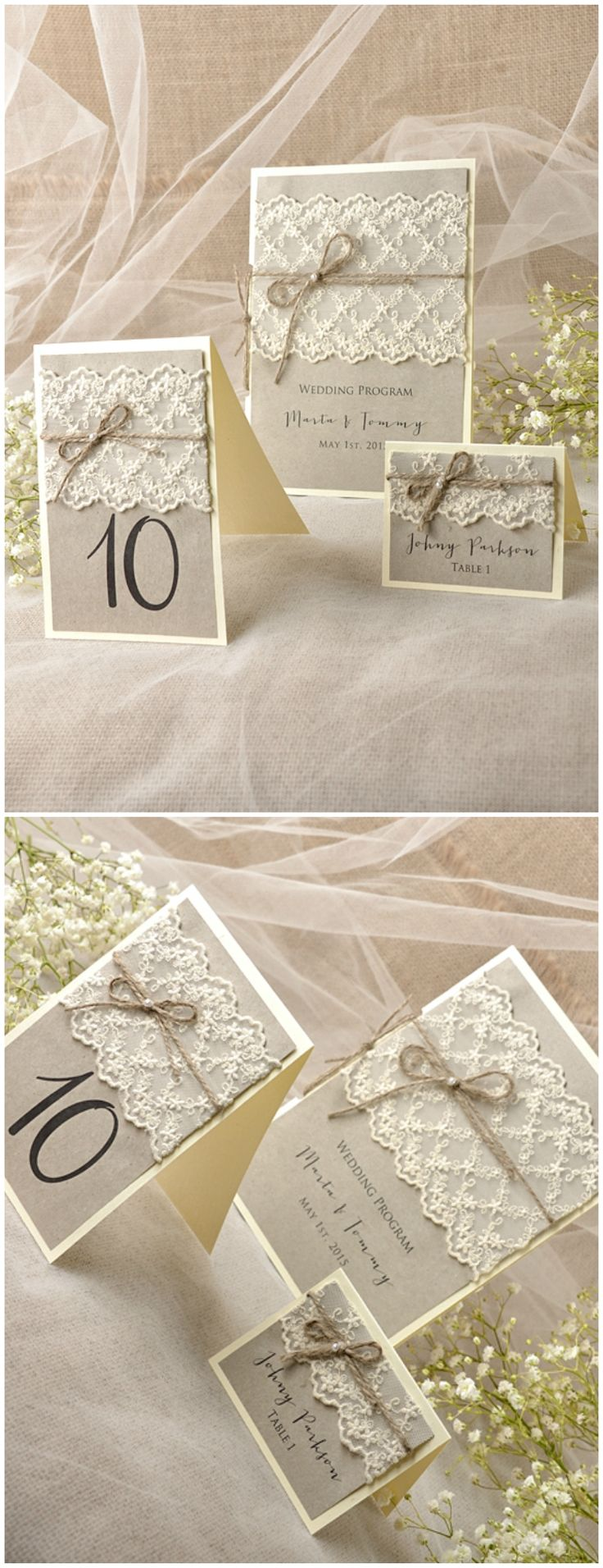 Rustic Lace Wedding Stationery #weddingideas #rustic #wedding #lace #romantic #calligraphy #eco #ecofriendly
