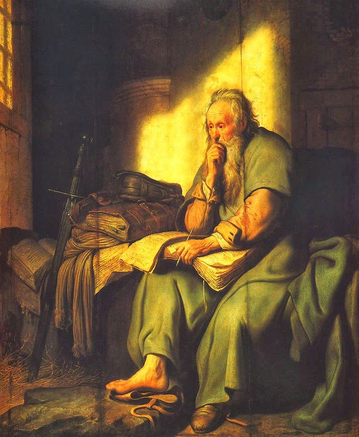 apostolo-Paulo.  Apostle Paul in Prison by Rembrandt Van Rijn