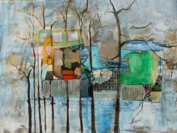 URBAN PARK by Coloure - original abstractcollage, mixed media on watercolor paper http://www.etsy.com/shop/Coloure #art