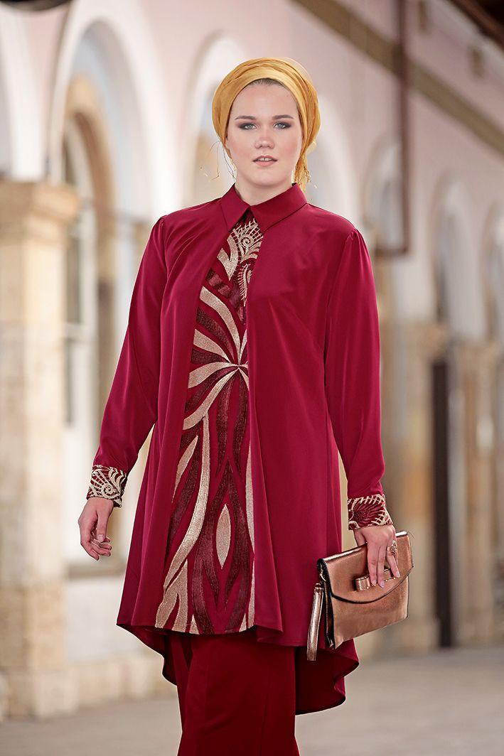 Tesettur Abiye Elbise Tunik Modelleri Nesrin Emniyetli Bordo Sultan Tunik Pantolon 2 Li Takim Women S Top Sleeve Top Tops