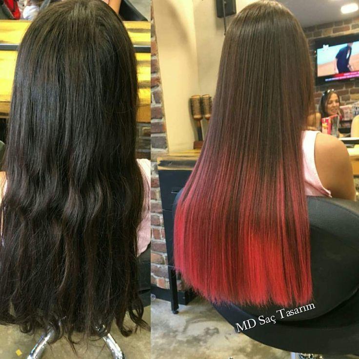 Renkli ombre saçlar cüretkar güzellik meraklılarının en yakın dostu😎 #ombre #renkliombre #hair #color #red #redhair #redombre #hairstyle #hairstyles #hairstylistlife #instahair #hairdresser #haircolor #exclusivesalon #fashion #mdsactasarim @mdmetindemir