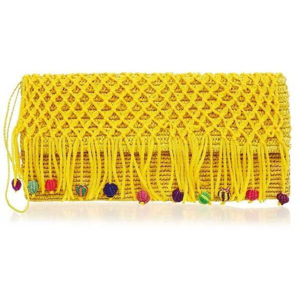 Yellow Fringe Toquilla Straw and Macrame Pompom Clutch Bag ❤ liked on Polyvore featuring bags, handbags, clutches, fringe handbags, crochet purse, straw clutches, crochet handbags and yellow clutches