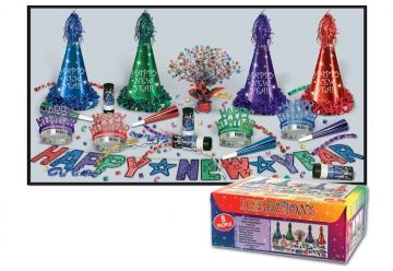 """This assortment for 8 people includes: 4 Printed foil party hats with fringe and tassels, 4 Glittered tiaras, 4 9"""" foil horns, 4 Confetti bursts, 1 Glittered streamer, 1 Gleam 'n burst centerpiece."""