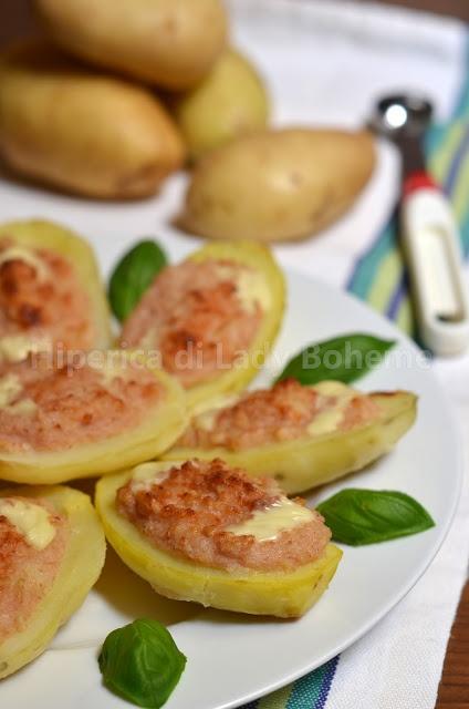 Patate ripiene con mousse di prosciutto cotto (Stuffed potatoes with ham mousse)