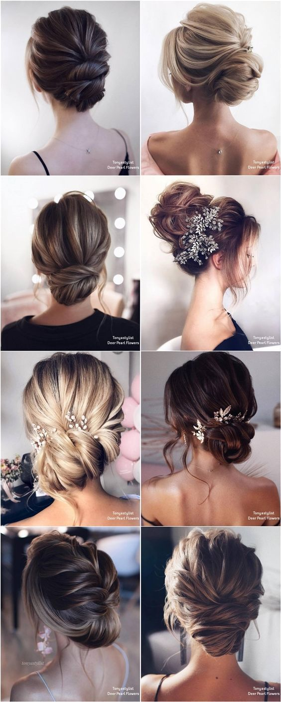42 Gorgeous Wedding Hairstyles Ideas to Inspire Your Wedding Day--Modern simple low bun updo wedding hairstyles with chic headpieces/accessories, eleg...