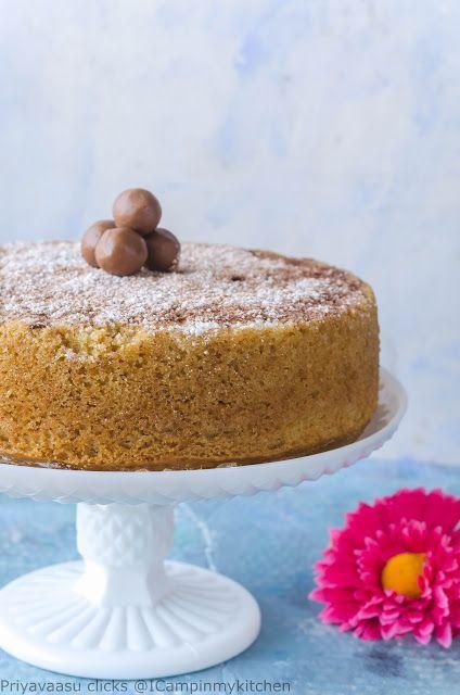 Eggless Whole Wheat Vanilla Cake - Basic Sponge Cake recipe, using ButtermilkEggless Whole Wheat Vanilla Cake - Basic Sponge Cake recipe, using Buttermilk