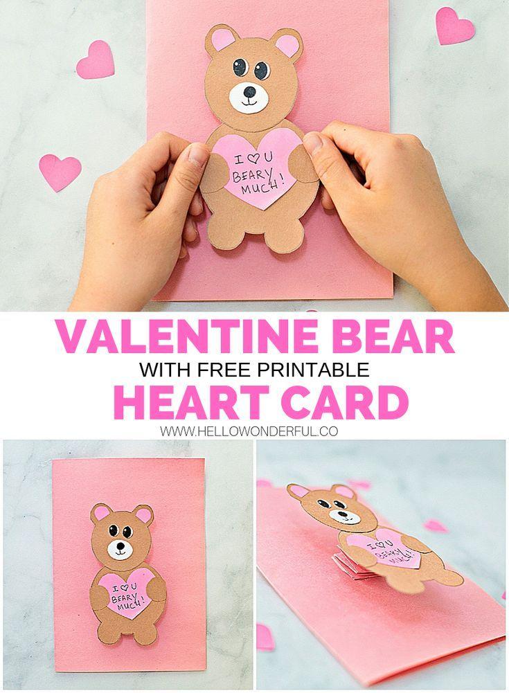 Valentine Bear Card Hello Wonderful Bear Valentines Valentine S Cards For Kids Valentines Cards