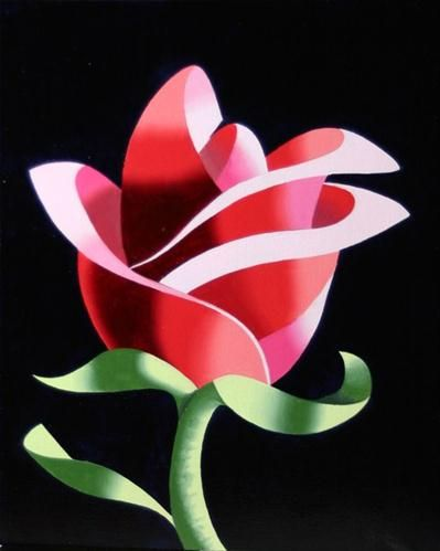 """Mark Webster - Abstract Geometric Rose No. 2 Still Life Painting"" - Original Fine Art for Sale - © Mark Webster"