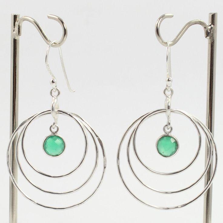925 Sterling Silver Chandelier Earrings Natural GREEN ONYX Checker Gemstones #Unbranded #Chandelier