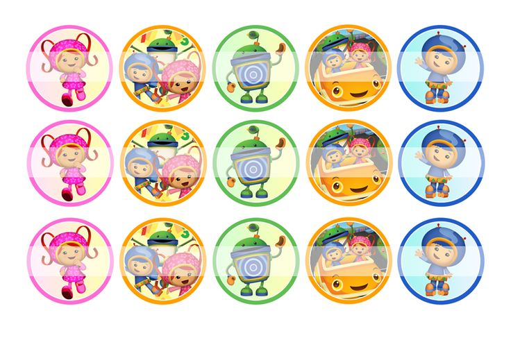 """Team Umizoomi - 1"""" Bottle Cap Designs / DIY Hair Accessories / DIY Earrings / DIY Necklace / DIY Key Chain / Birthday Party / Party Favors / DIY Magnets / Bottle Cap Crafts / Bottle Cap Art / Bottle Cap Ideas / Bottle Cap Party Favors / Children Party Ideas / Children Party Themes / Kid Party Ideas / DIY Party Ideas"""