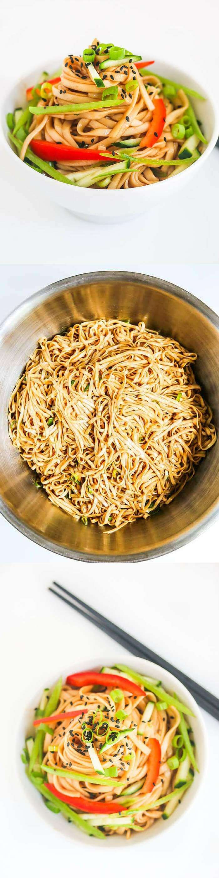 Cold Sesame Noodles - this is a great make ahead dish for a party ~ http://jeanetteshealthyliving.com