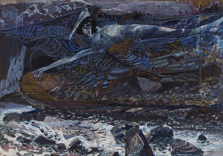 """Врубель М. А. """"Демон поверженный"""", эскиз-вариант одноименной картины, 1901. Бумага на картоне, акварель, гуашь, бронза. 21х30"""