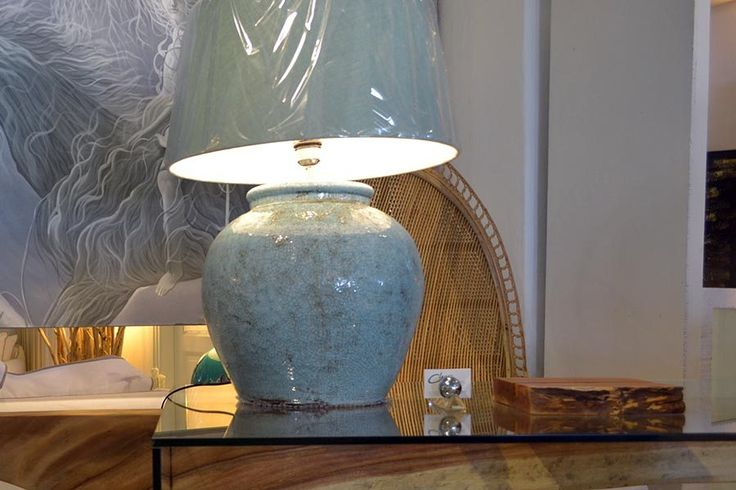 Light blue porcelain lamp , Play with the light. This is our moto at Chora…
