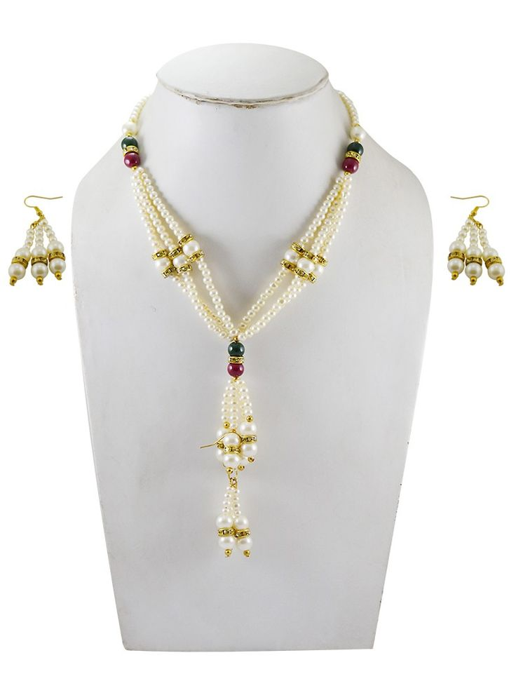 Adbeni+Multicoloured+Pearl+Handcraft+Necklace+With+Earning-ADB-02+Price+₹199.00