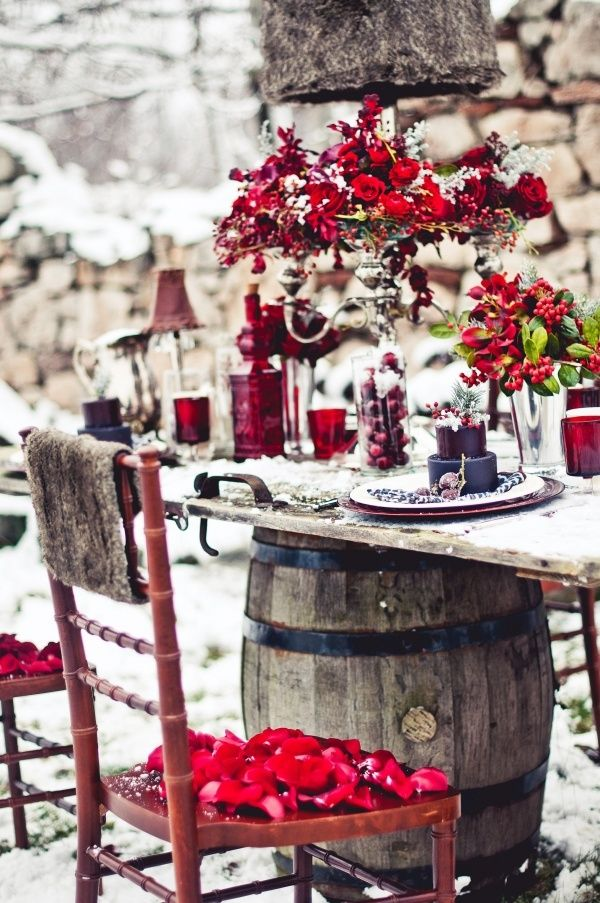 "Red and snowy white wedding, was about to call it a ""red wedding"" but that would just be tragic cruel!"