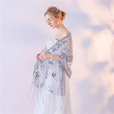 Tulle Wedding Party/Evening Women's Wrap With Lace Shawls Elegant Style
