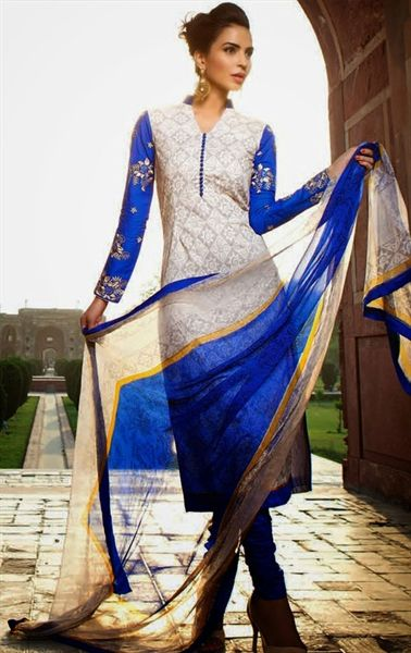 Pretty 'Party Wear' Churidar Suit in white & blue
