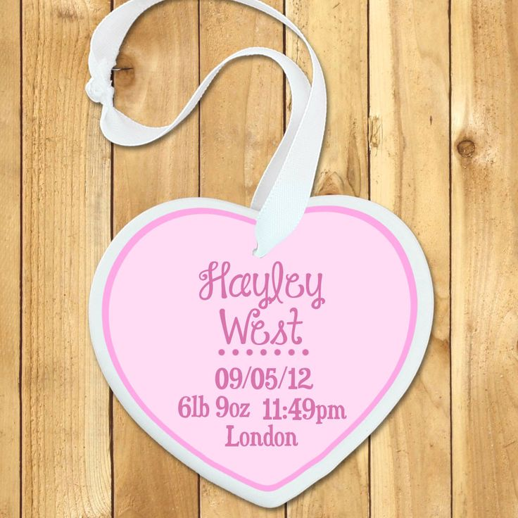 23 best personalised gifts for babies images on pinterest beautiful baby door hanging personalised baby birth date heart keepsake in pink yourgifthouse negle Gallery