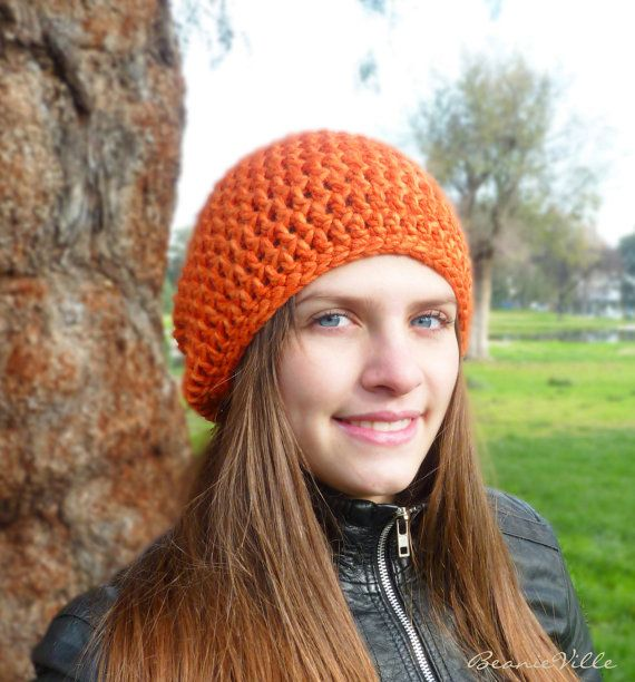 Classic beanie hat  ORANGE  crochet  womens Winter by BeanieVille, $22.95