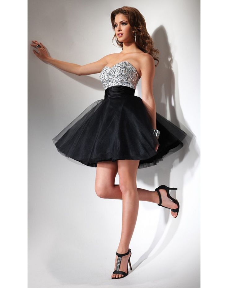 Beading Pleated Strapless Cocktail Dress