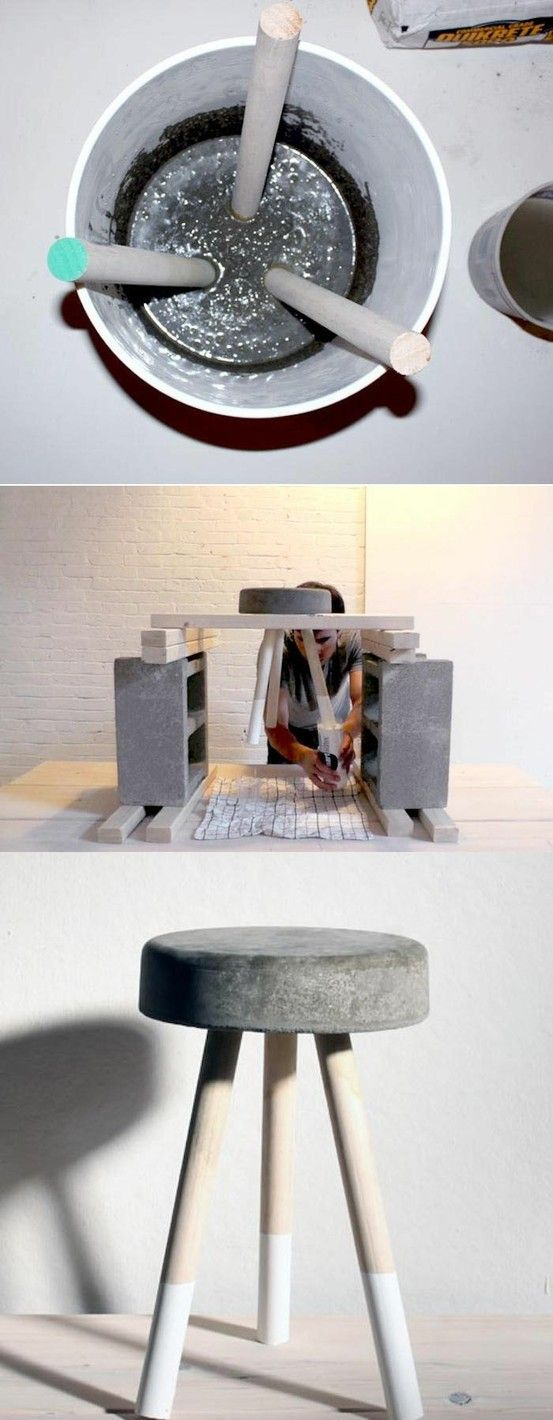 DIY Concrete Stool #tutorial #tutorials #DIY