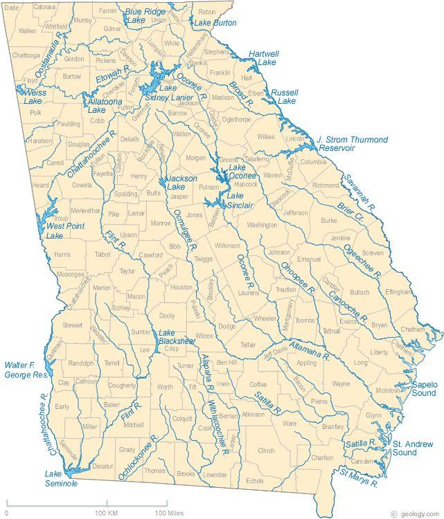 Georgia Lake Map River Map And Water Resources Teaching Miss - Georgia lakes map