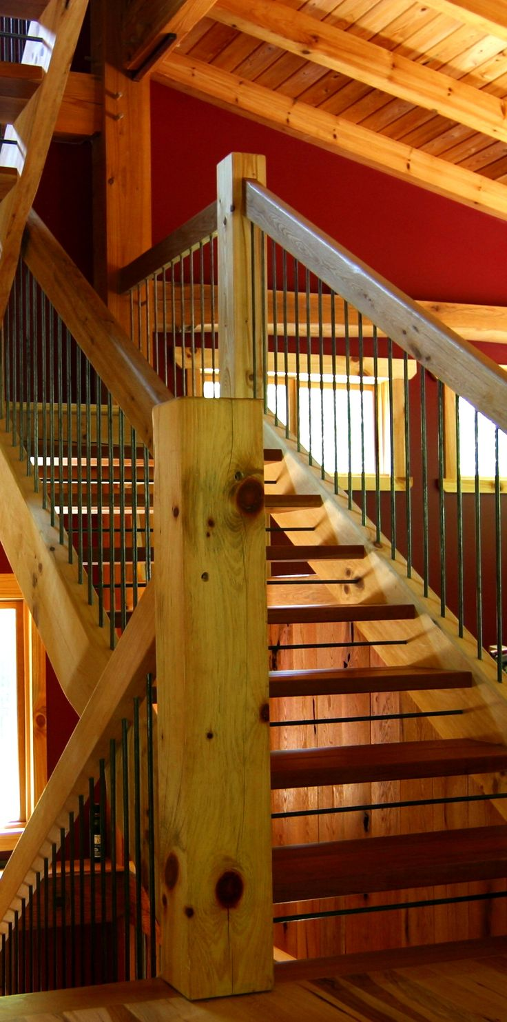 Types of Timber Frame Stair Systems - Timber Frame HQ  - If you're planning to build a multi-storied timber frame home, the chances are pretty good you'll be agonizing over what type of stairway to have built. You're right to spend time researching stairs, as they can be a focal point for the entire public area of your home. - http://timberframehq.com/types-of-timber-frame-stair-systems/?utm_content=bufferd3926&utm_medium=social&utm_source=pinterest.com&utm_campaign=buffer