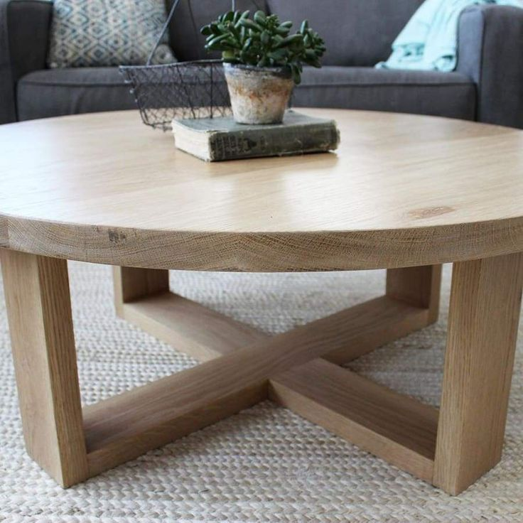 Round All Wood White Oak Coffee Table Modern Solid Wood Round