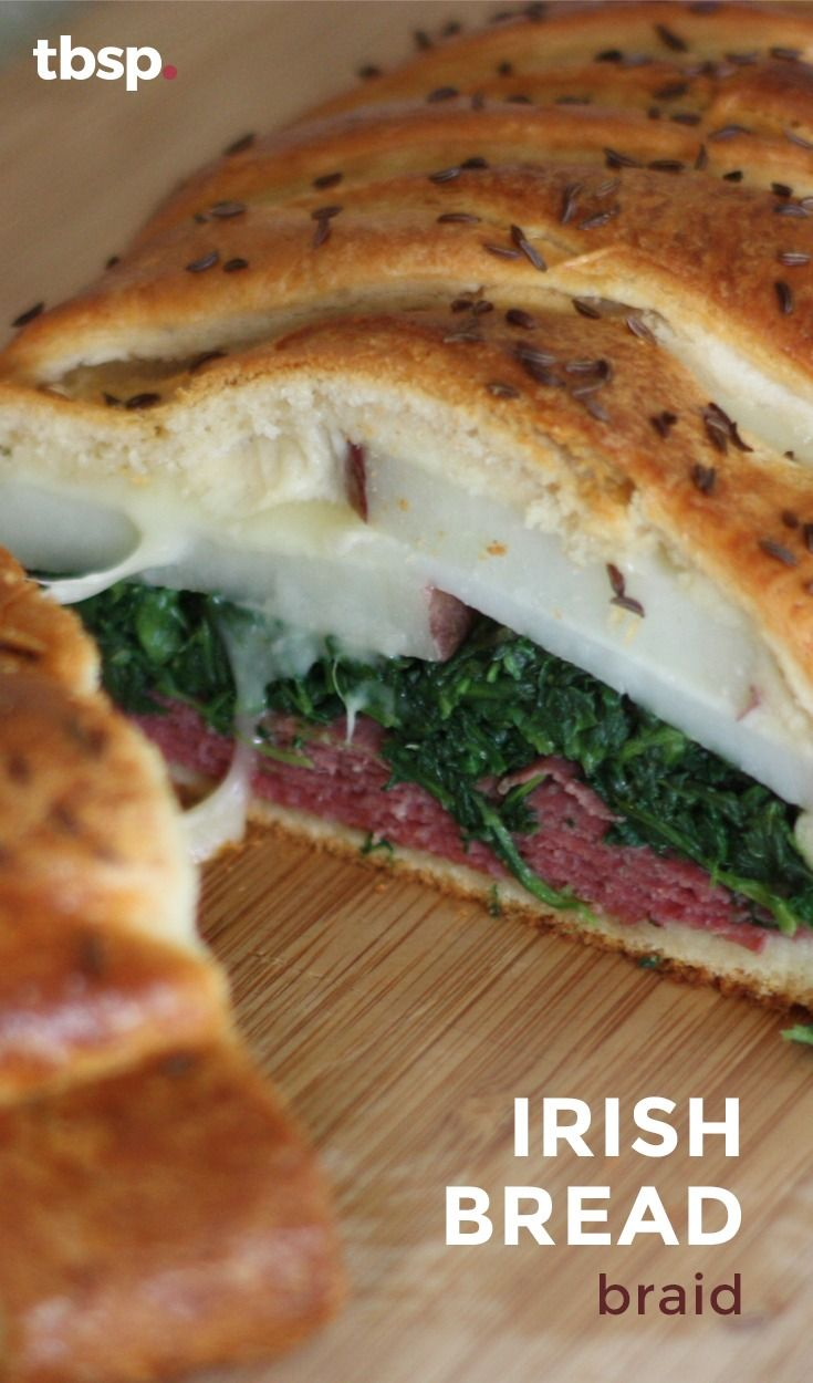 Corned beef, potatoes, spinach and melty white cheddar cheese all wrapped up in a crescent braid. In 45 minutes, you'll have a delicious, cheesy and festive dinner!