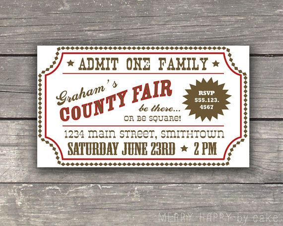 County Fair Birthday Party Ticket Insert by cakeevents on Etsy