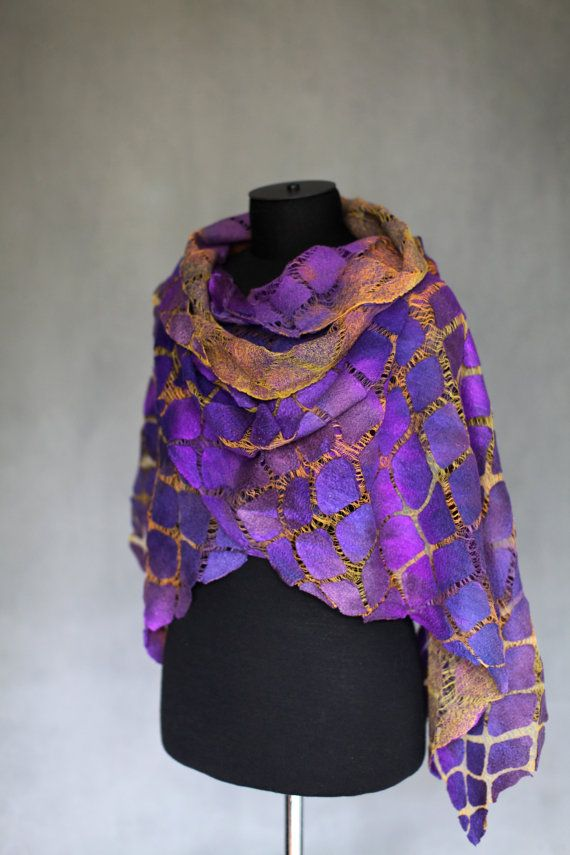 Purple Nuno Felted Scarf Wrap Gift For Her Long Textured Silk Wool Cotton Gauze Wrap Felt Scarves OOAK