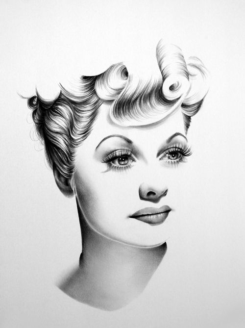 Lucille Ball. Classic Half-Erased Charcoal Drawings of Celebrities - My Modern Met