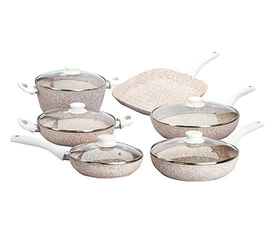 Batteria di pentole in quarzi di granito Stonerose bianco - 11 pezzi
