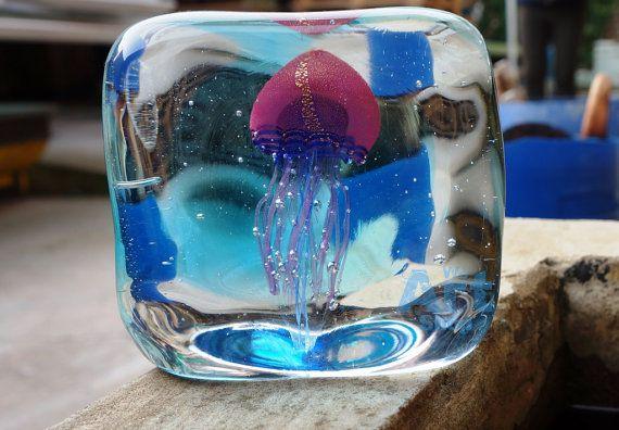 Kwallen sculptuur in blauw glas kubus Murano glas kwallen Tank Sea Life Aquarium oceaan leven Design Object Italiaanse kunst glas middelpunt